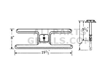 """19-1/2"""" X 8"""" Stainless Steel """"H"""" Burner With Tube"""