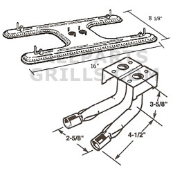 """Stainless Steel """"H"""" Burner With Dual Tubes"""